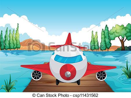 Drawn airplane plane landing Art a Vector air of