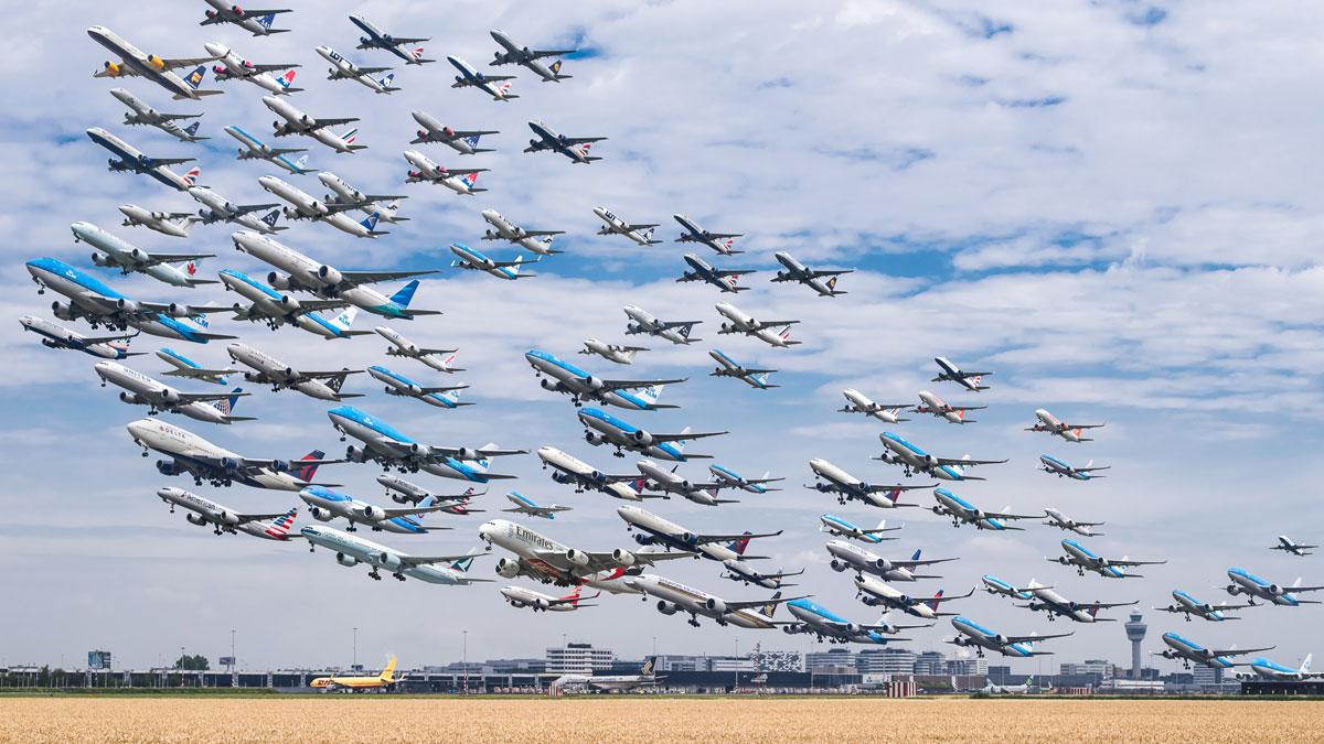 Drawn airplane plane landing Taking schiphol amsterdam 24 and