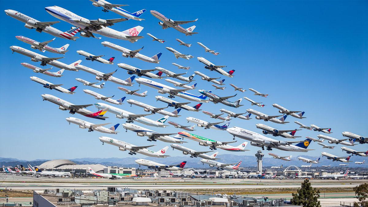 Drawn airplane plane landing These angeles los international of