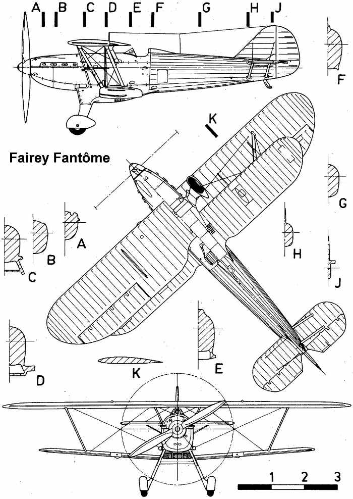 Drawn aircraft rc plane Fantome model  of Fairey