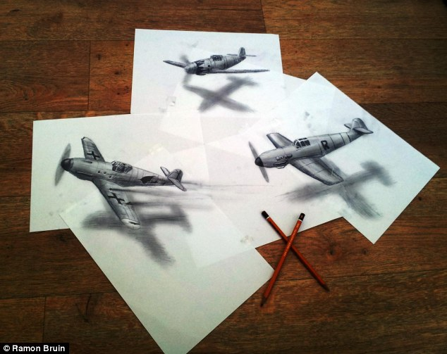 Drawn airplane realistic #9