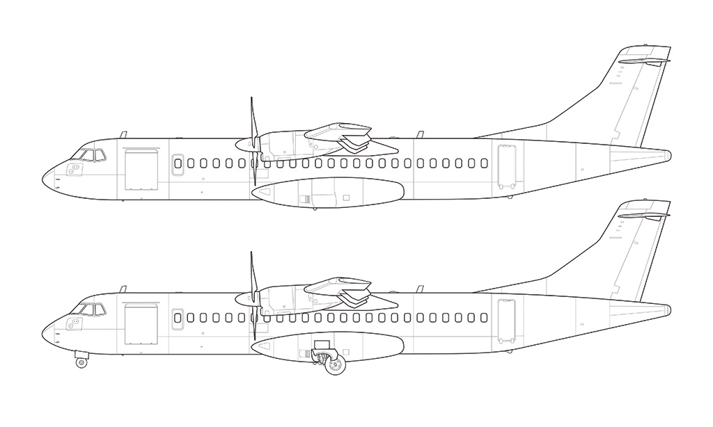 Drawn airplane side view Line Norebbo view Illustrations Aircraft