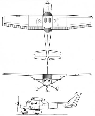 Drawn airplane side view Cessna 152  Aircraft View