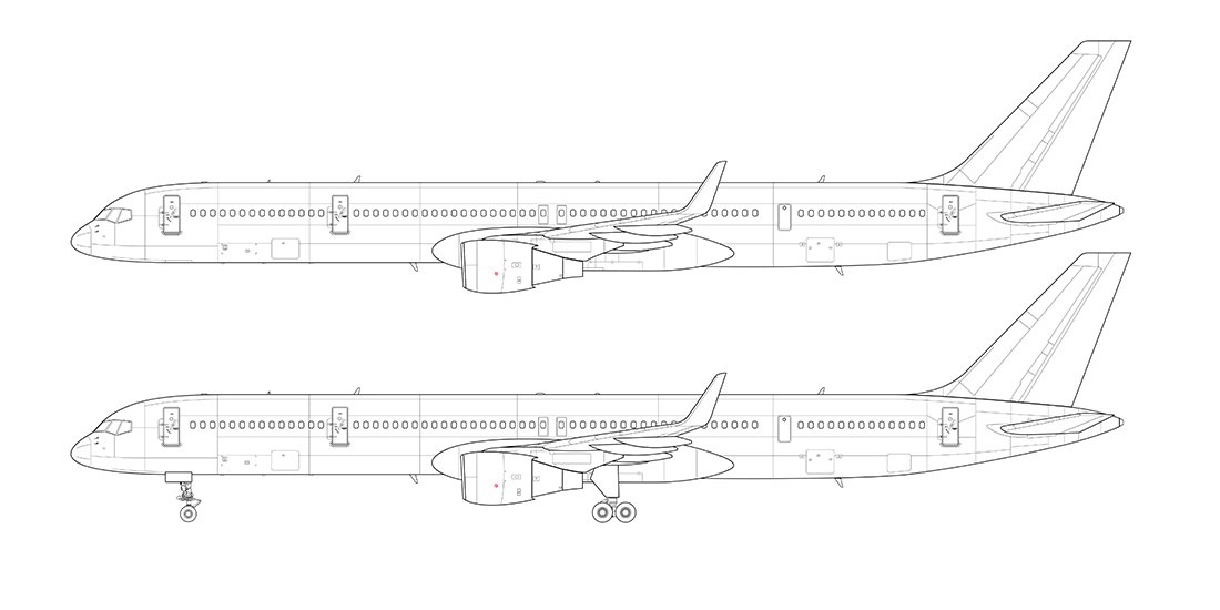 Drawn airplane side view Side drawing Norebbo 300 view