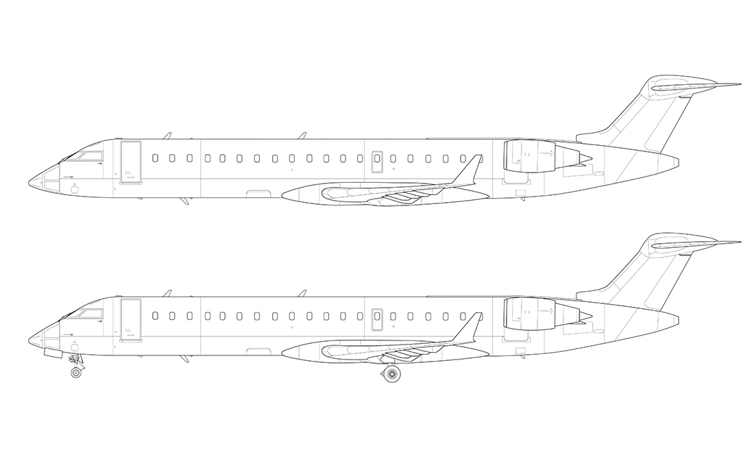 Drawn airplane side view Line Norebbo view templates airliner