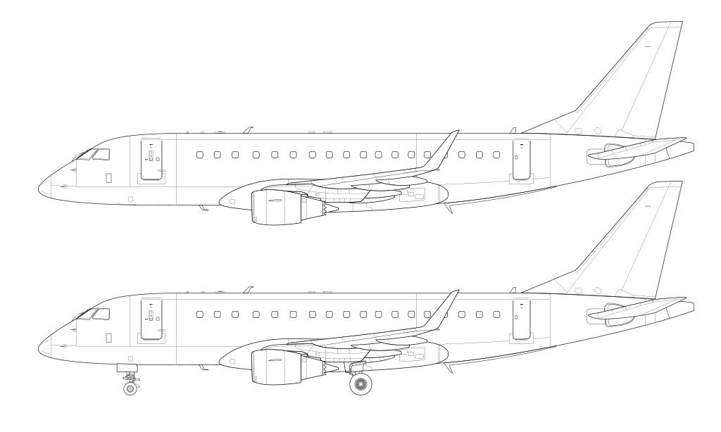 Drawn airplane side view Template – drawing airliner view