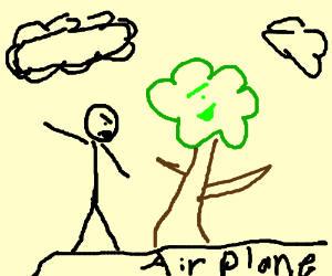 Drawn airplane stick figure Airplane fight over and figure