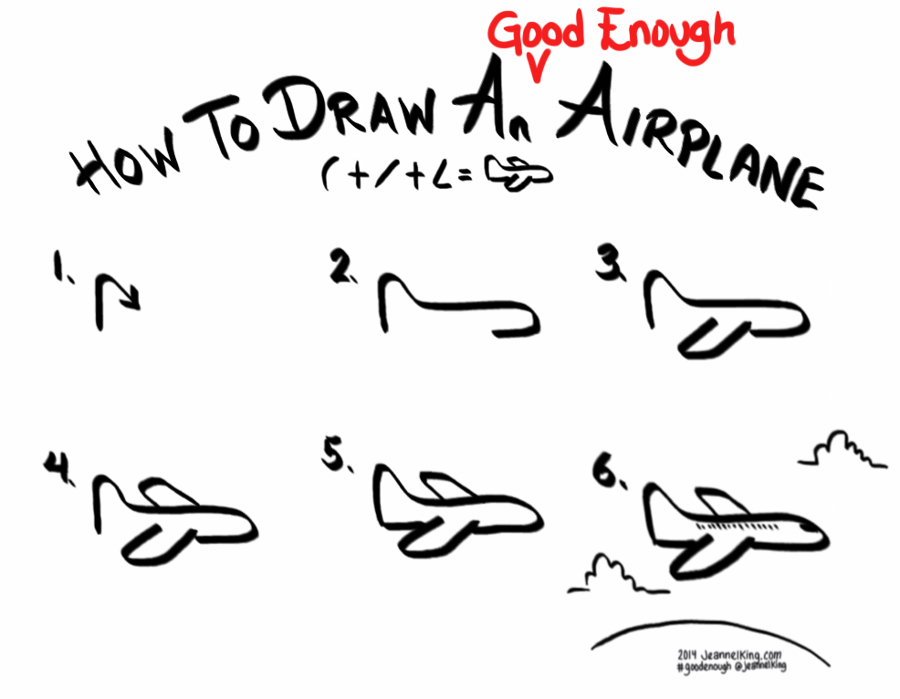 Drawn airplane stick figure A Figure draw in and