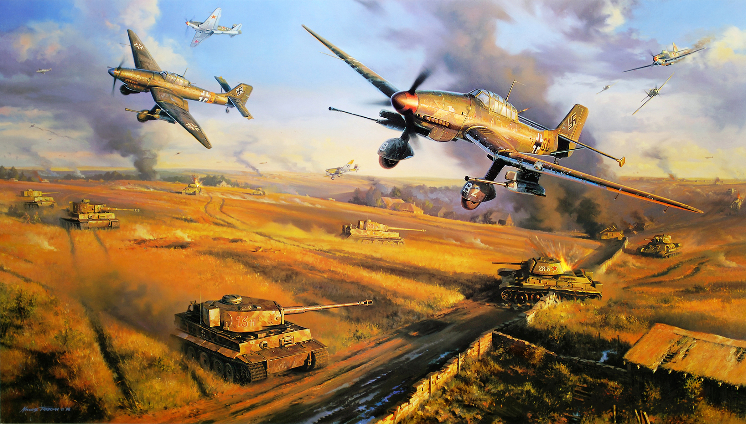 Drawn aircraft ww2 airplane WINGS Aircraft 87 Military painting