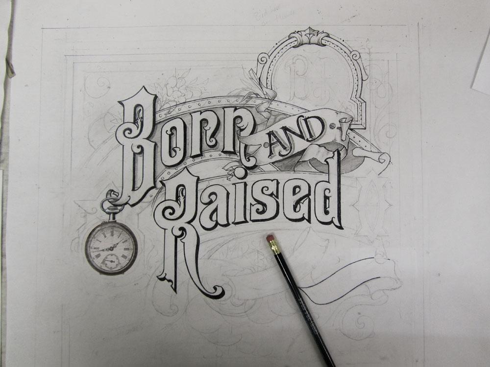 Drawn album cover born and raised Impressionante A Smith Raised' &