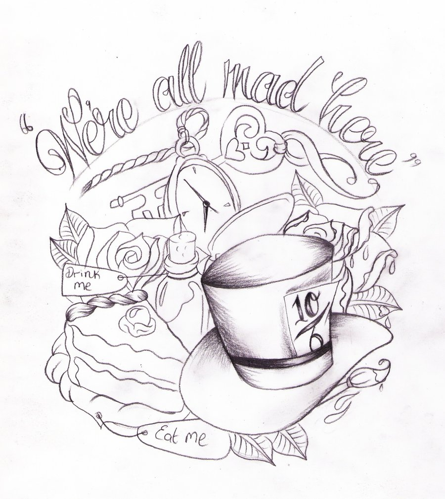 Drawn hat chef In Alice on com wonderland