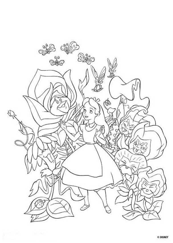 Drawn alice in wonderland coloring pages #4