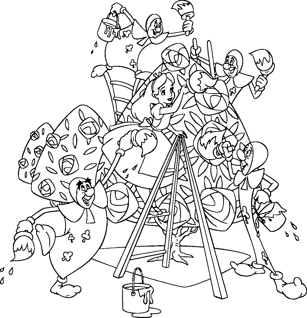 Drawn alice in wonderland coloring pages #3