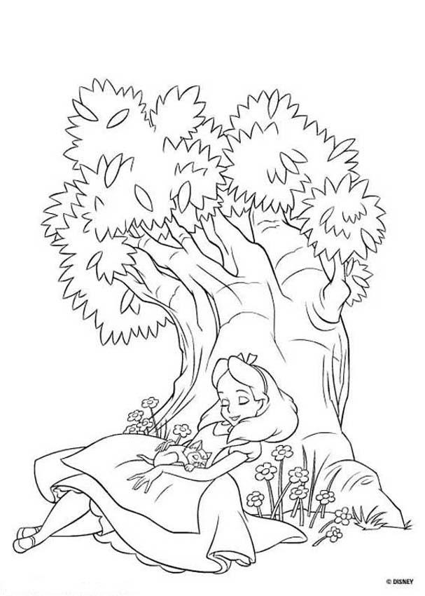 Drawn alice in wonderland coloring pages #7