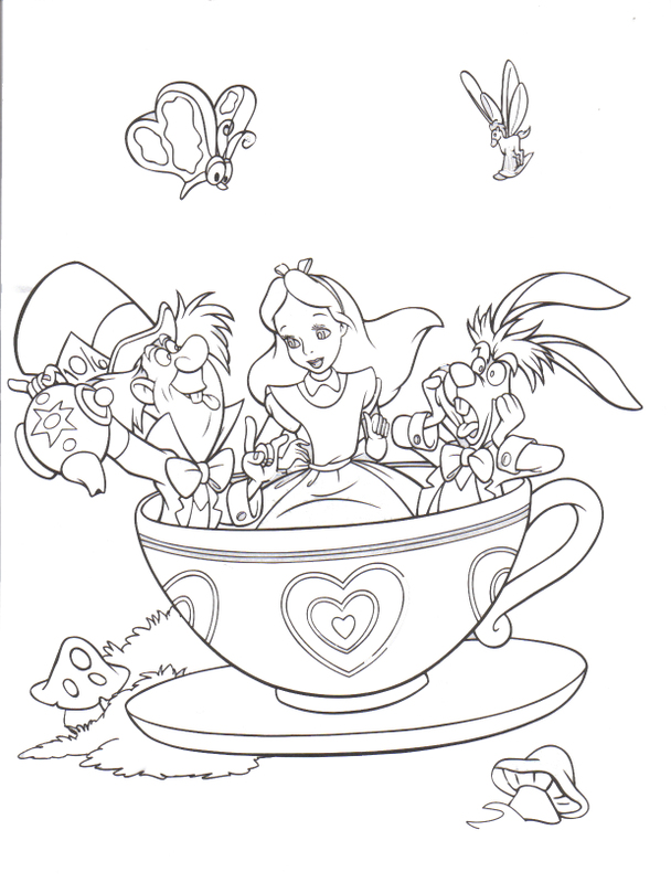Drawn alice in wonderland coloring pages #8