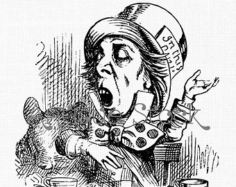 Drawn alice in wonderland old Line Hatter Party Old Mad