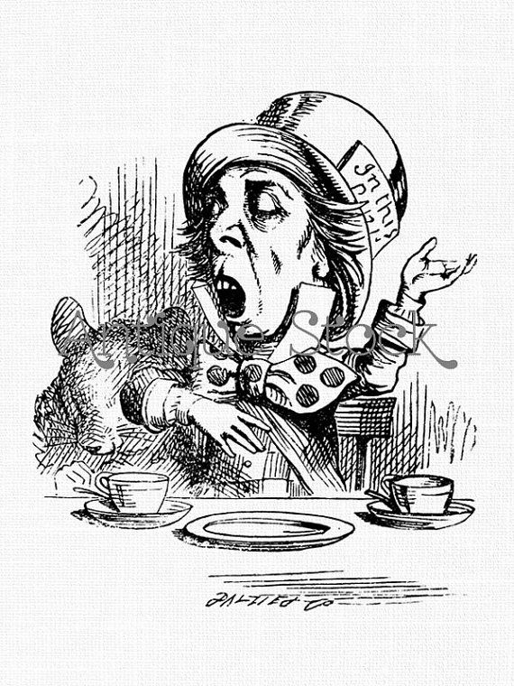 Drawn alice in wonderland old Line Hatter Clip Mad Wonderland