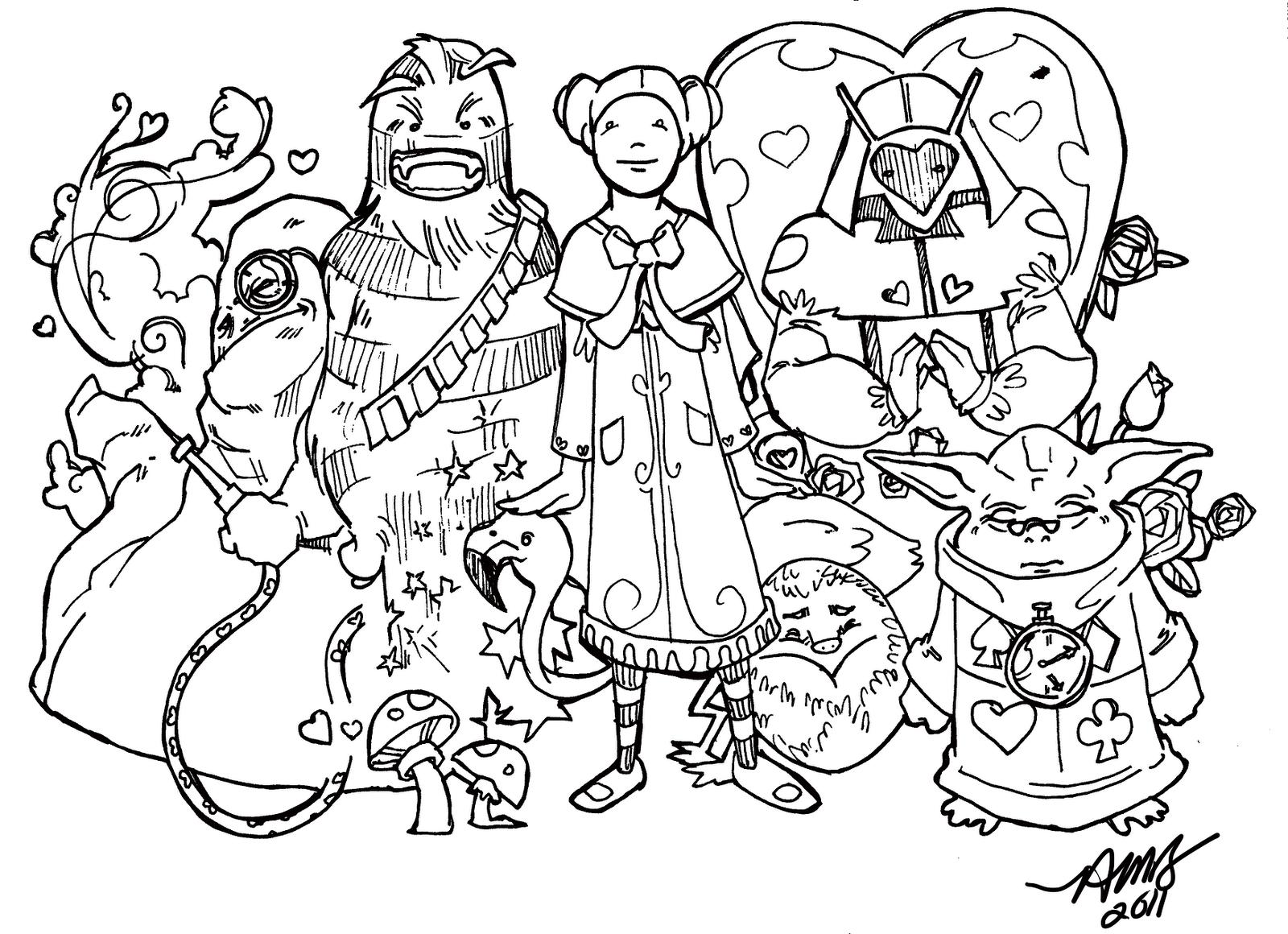 Drawn alice in wonderland star wars #2