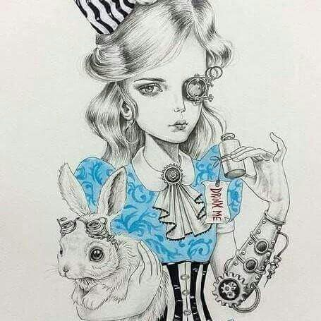 Drawn alice in wonderland steampunk And punk punk Pinterest Alice