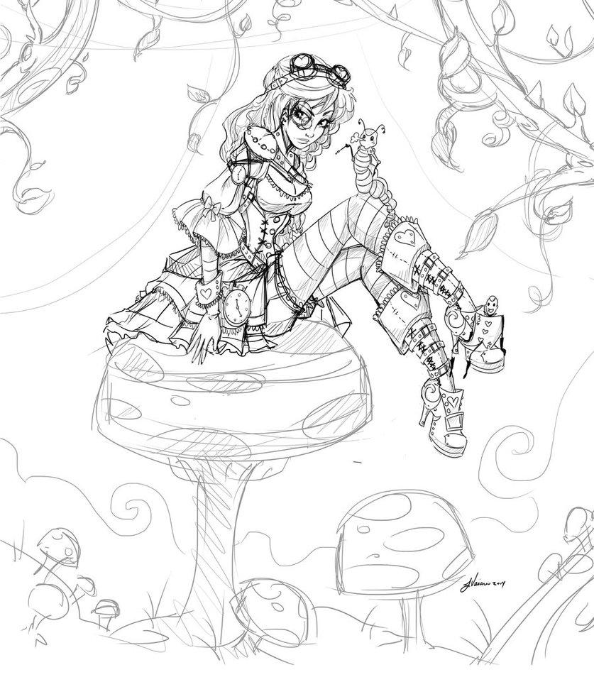 Drawn alice in wonderland steampunk Anime Noflutter Draw How In