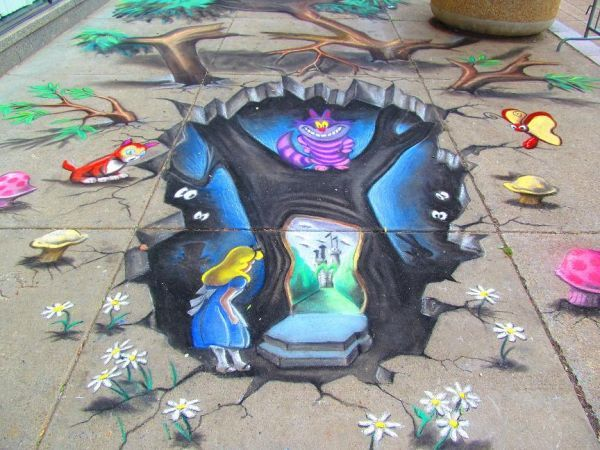 Drawn alice in wonderland street art Wonderland' Alice 3D AmazingStreetArt Wonderland'