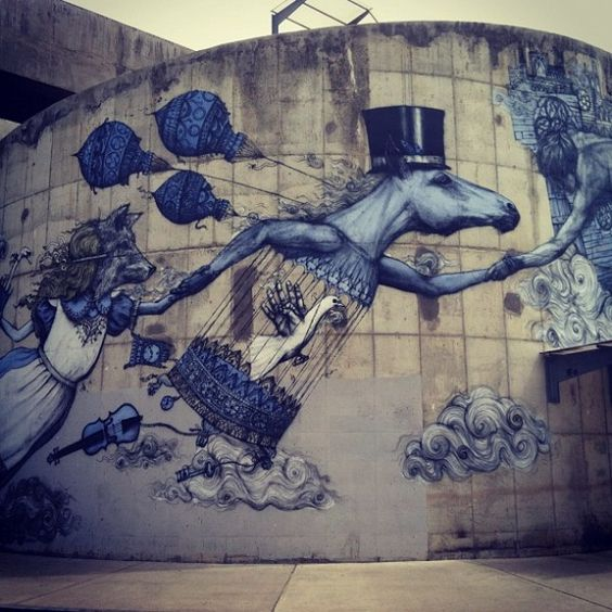 Drawn alice in wonderland street art Art inspired from  Alice