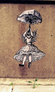Drawn alice in wonderland street art By hole! Belén Street Art