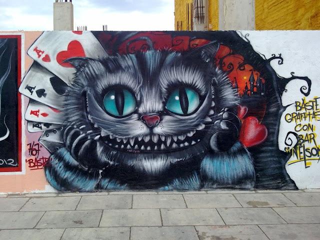 Drawn alice in wonderland street art #12