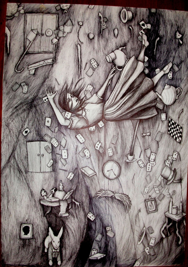 Drawn alice in wonderland the rabbit hole drawing #8