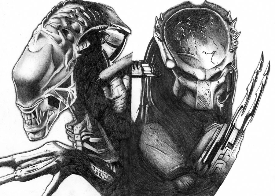 Drawn predator alien vs predator Predator vs on by DeviantArt