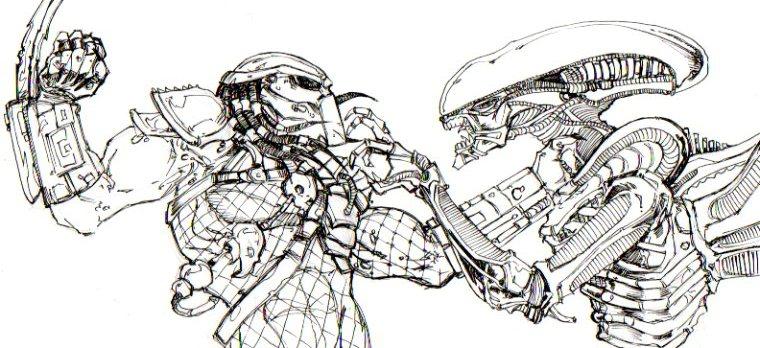 Drawn predator alien vs predator AVP vs Predator ChrisOzFulton DeviantArt