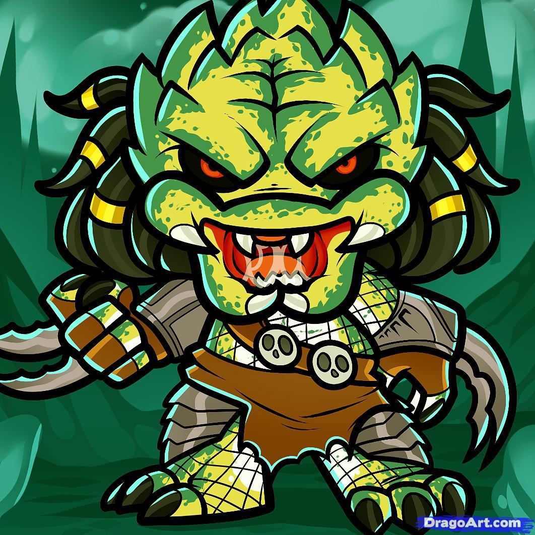 Drawn predator cartoon Predator Alien chibi Chibi Draw