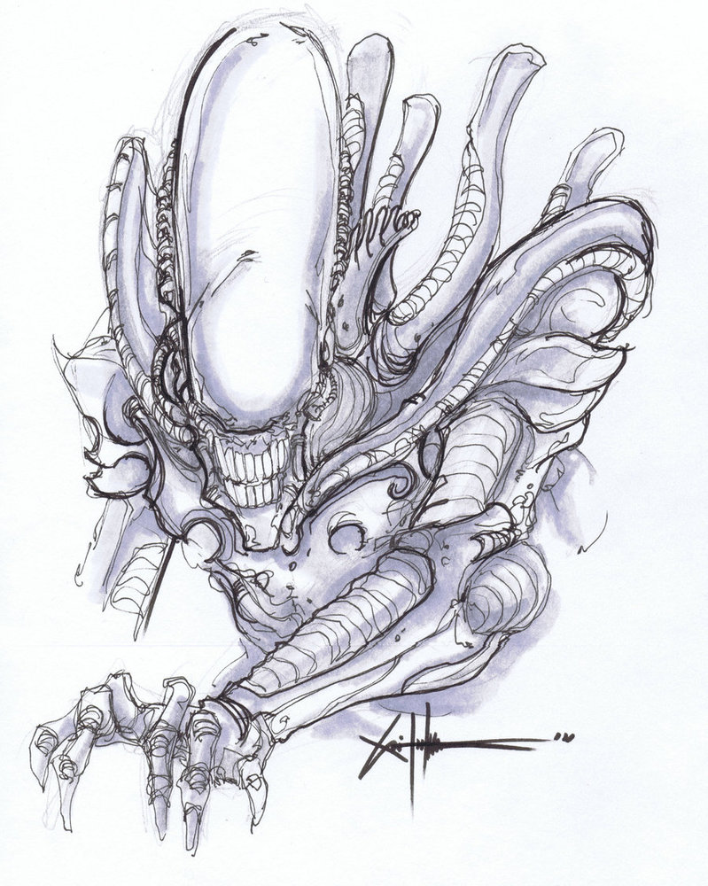 Drawn predator xenomorph Images Best Alien Drawing Art