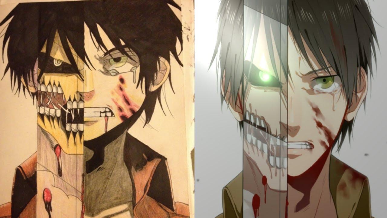 Drawn amd attack on titan YouTube Anime Eren On Attack
