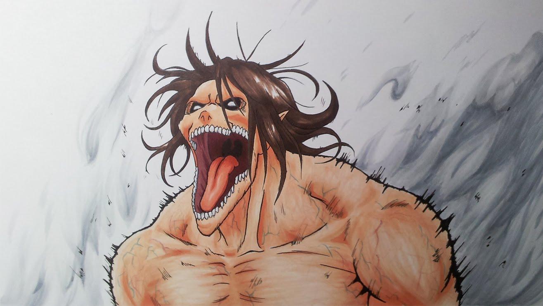 Drawn amd attack on titan On Eren  Yeager Titan