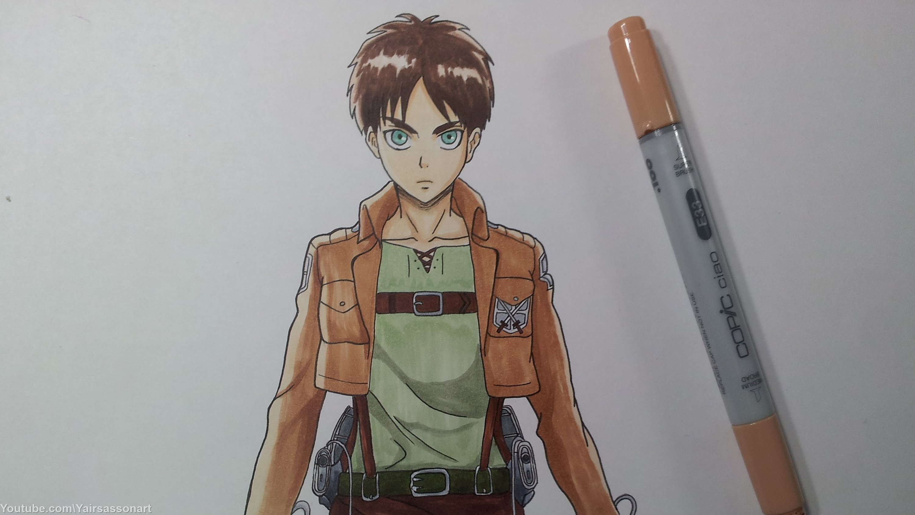 Drawn amd attack on titan YouTube Eren on Jeager Drawing