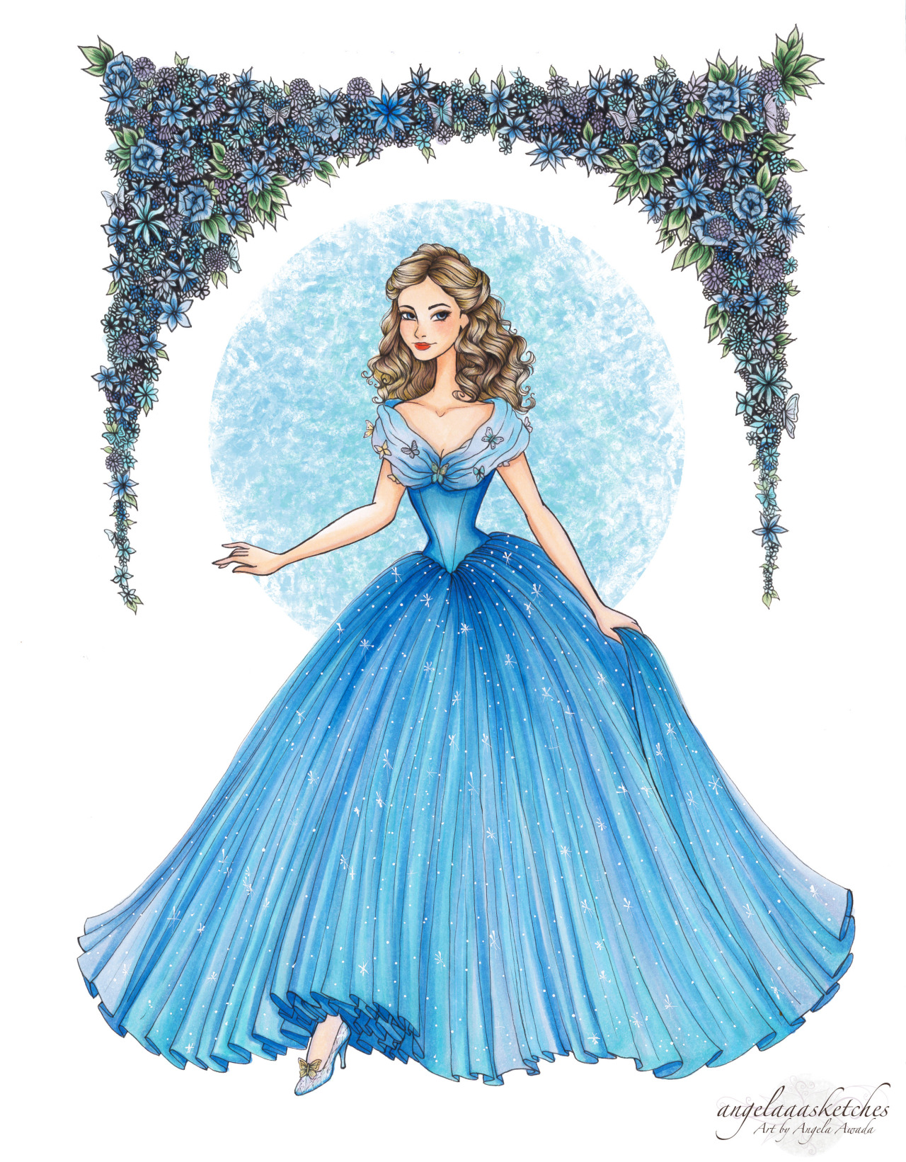 Drawn amd cinderella Markers  colored Cinderella with