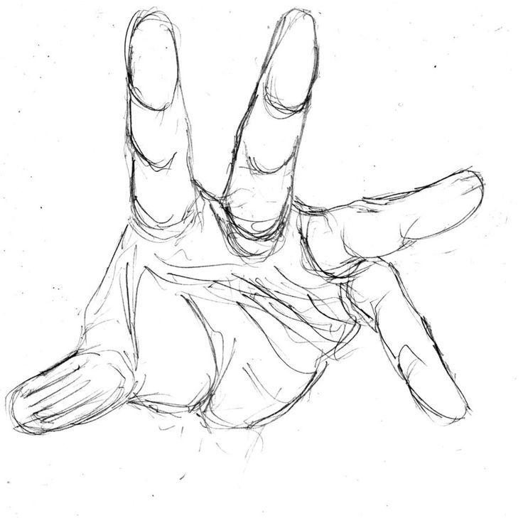Drawn finger hand sketch #14