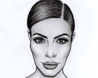 Drawn amd kim kardashian Kardashian Etsy Kardashian Kim Print