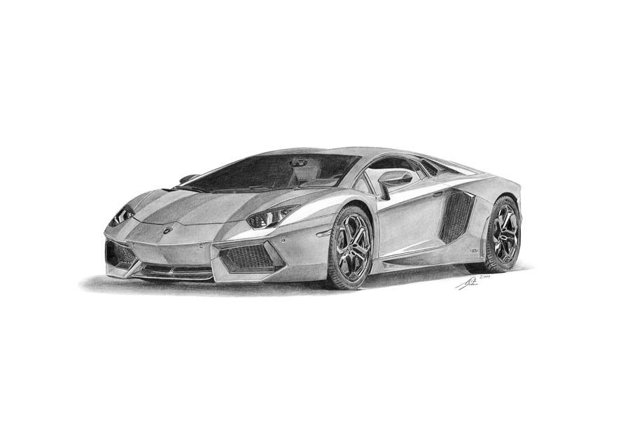 Drawn amd lamborghini aventador Aventador Car Drawing by Gabor