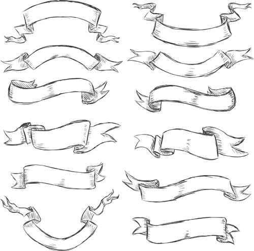 Drawn ribbon banner Vectors Brushes vector vintage ribbon