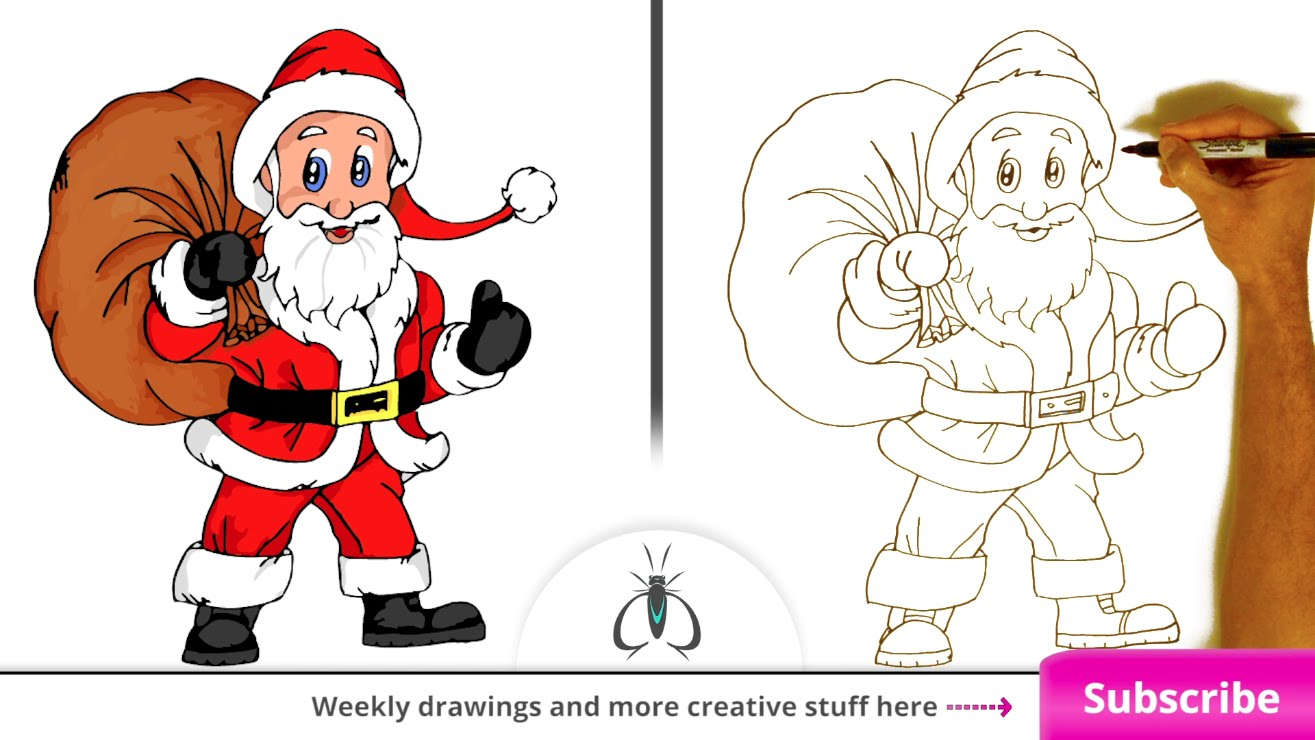 Drawn santa funny YouTube by Draw  Claus