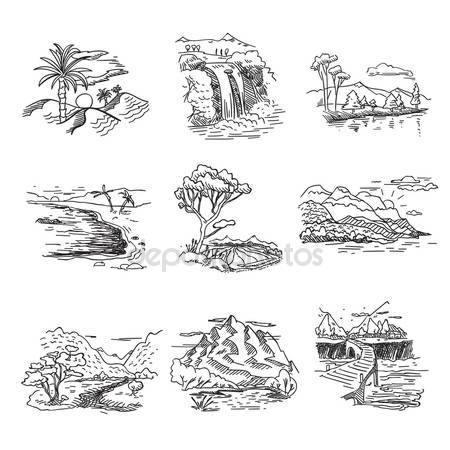 Drawn amd waterfall Nature illustration doodle sea sketch
