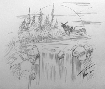Drawn scenery creative Tattoo drawing Waterfall drawing