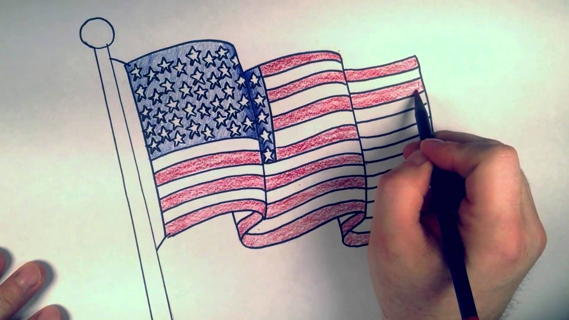 Drawn american flag How Draw American Flag: Coloring