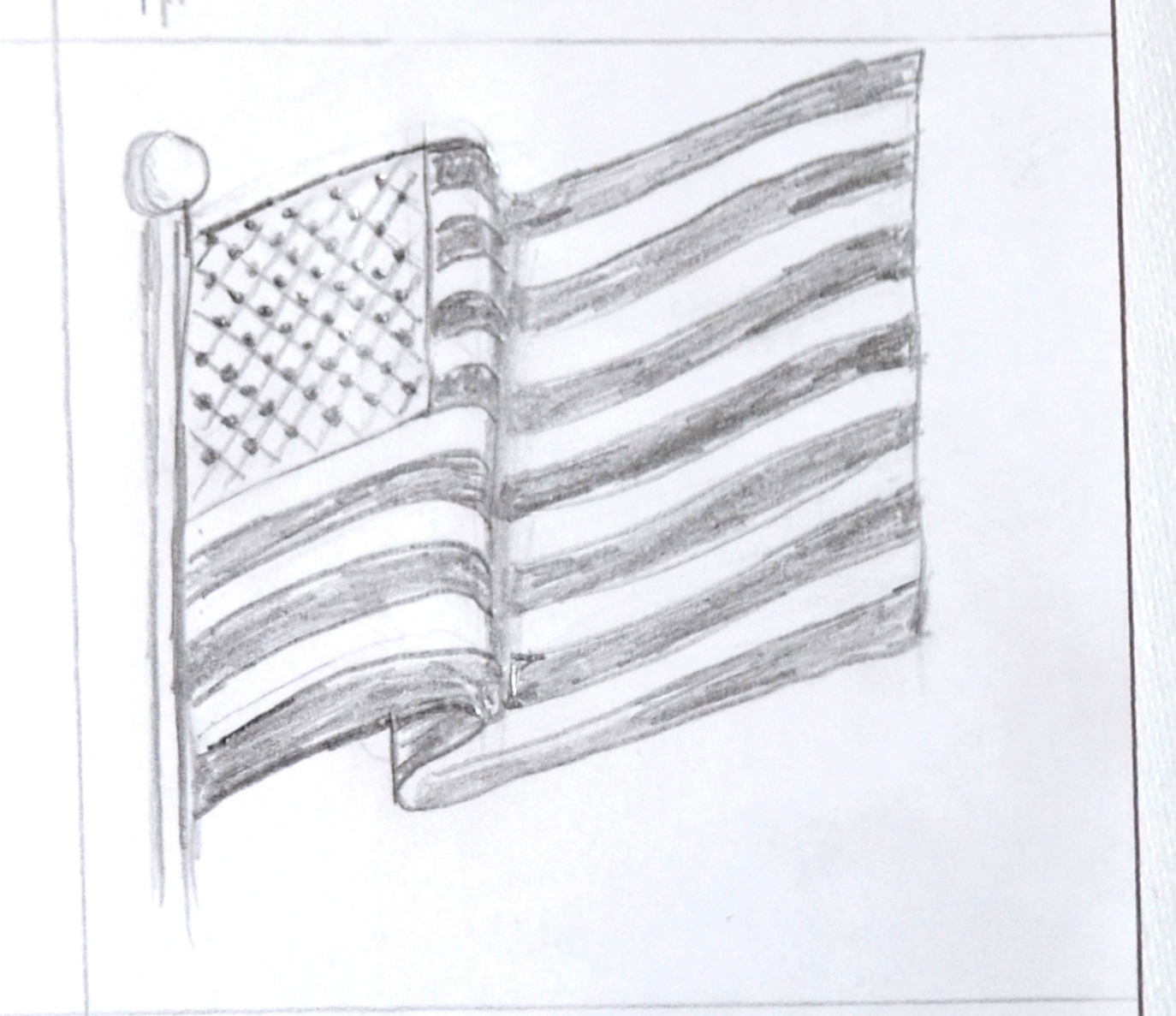 Drawn american flag American Waving Flag Art Class