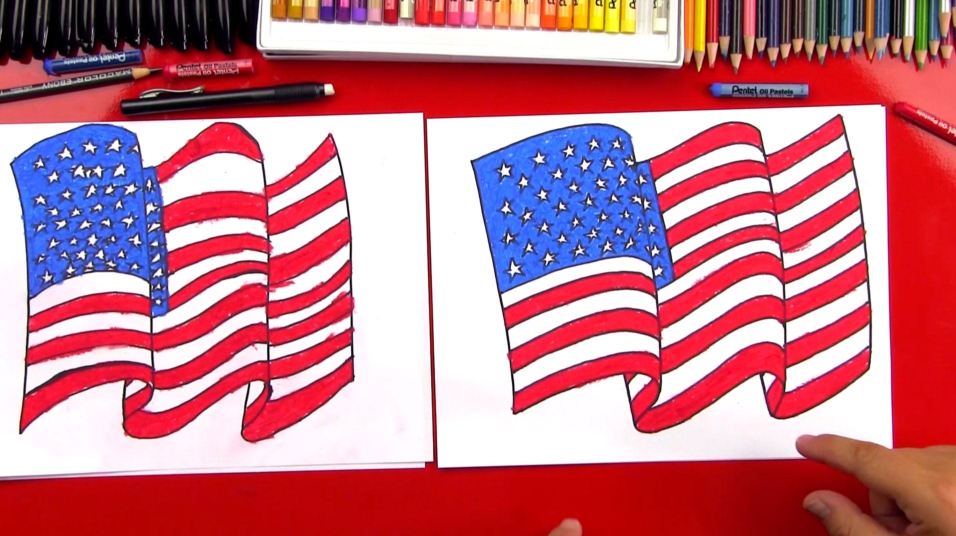 Drawn american flag How Draw American Flag