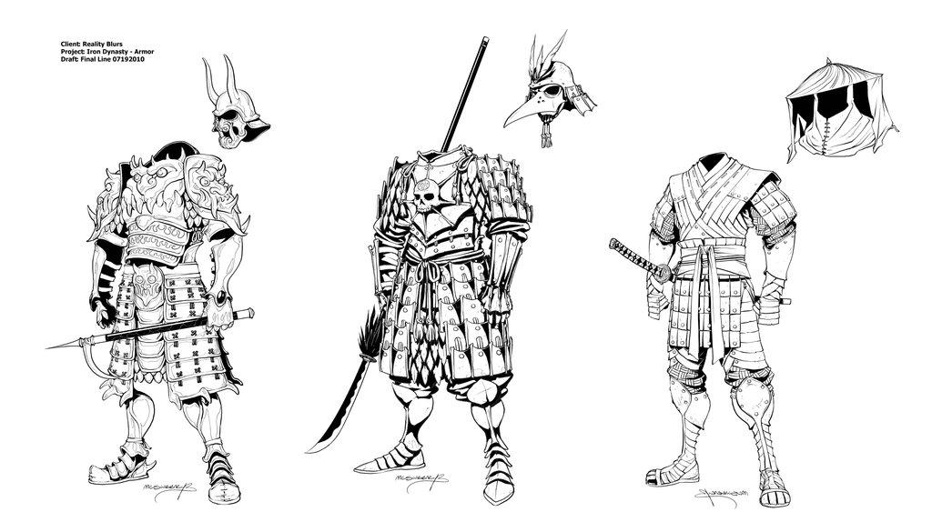 Drawn samurai two sword On Dynasty Iron by Armor