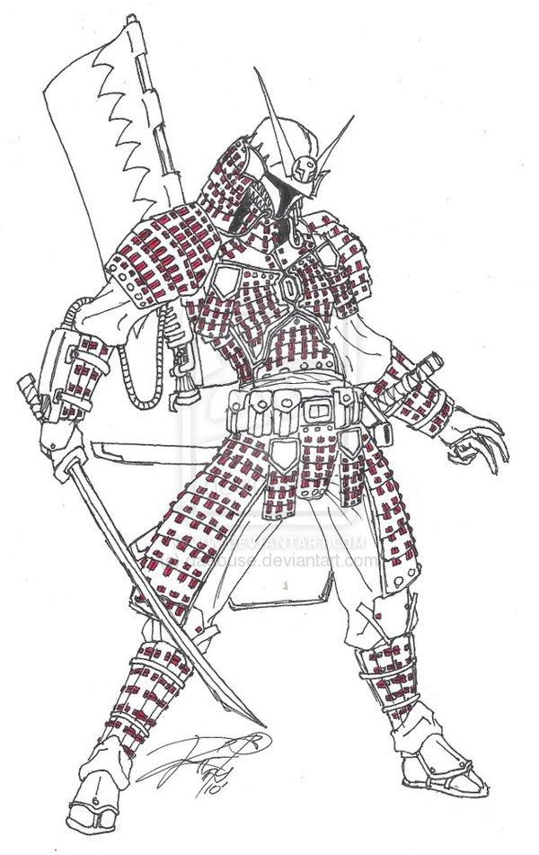 Drawn samurai face Way rai WIP Mando an