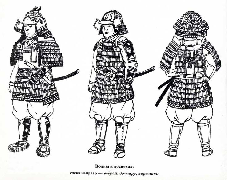 Drawn samurai samurai armor (left best Japanese armor yoroi
